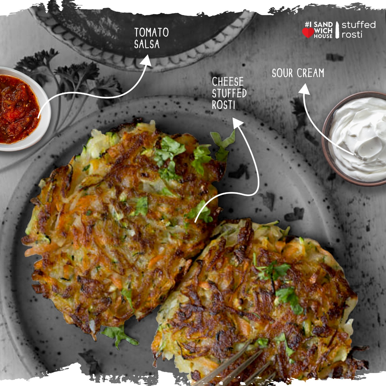 Stuffed Rosti With Sour Cream And Salsa