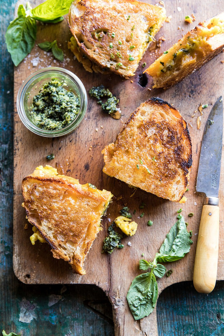 Breakfast Grilled Cheese With Soft Scrambled Egg And Pesto