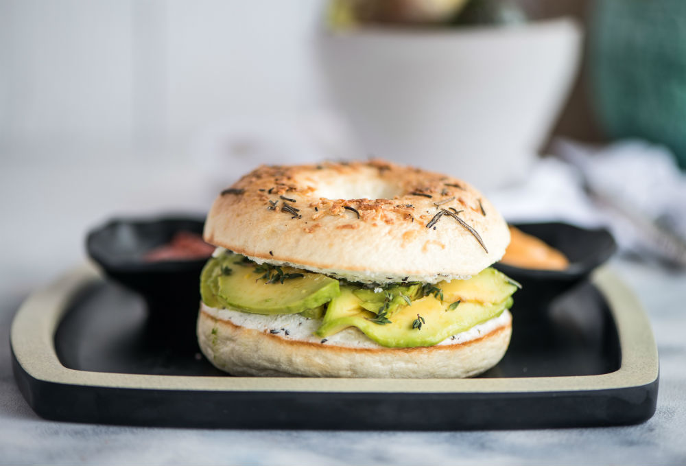 Toasted Bagel With Guacamole & Cream Cheese